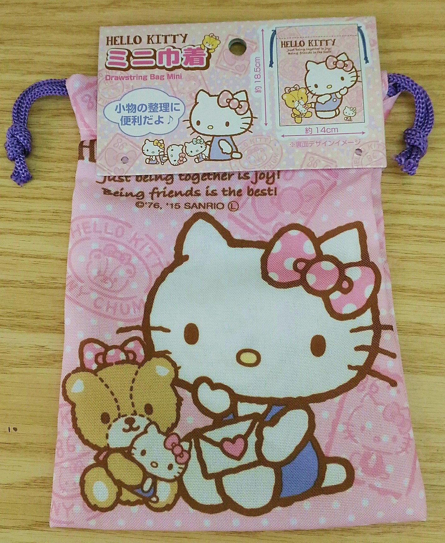【真愛日本】17111700050 棉布束口袋-KT小熊 三麗鷗 kitty 凱蒂貓 日用品 居家生活 收納 布製品