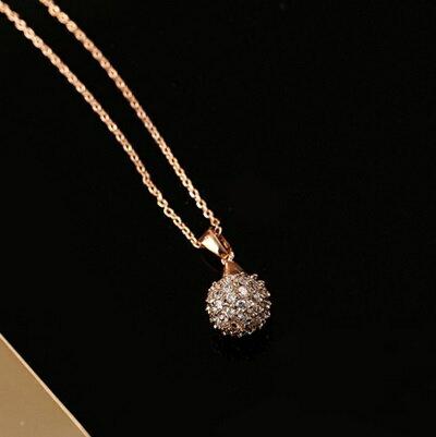 ~玫瑰金項鍊 鑲鑽純銀吊墜~精緻小圓球 百搭七夕情人節 女飾品73dw93~ ~~米蘭 ~