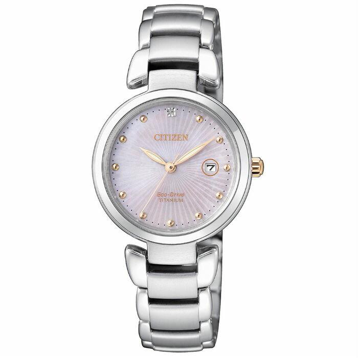 CITIZEN 星辰錶 EW2506-81Y輕盈鈦金屬(帶一顆真鑽)時尚光動能錶 / 粉面29mm - 限時優惠好康折扣