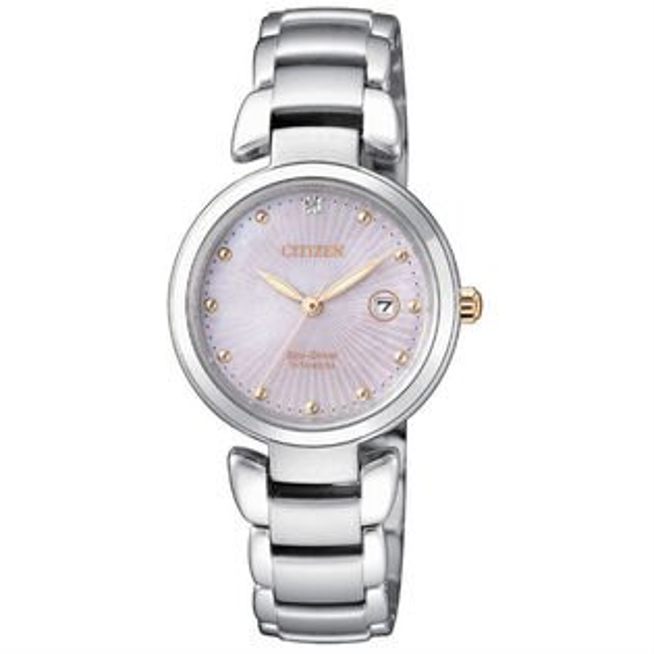 CITIZEN星辰錶EW2506-81Y輕盈鈦金屬(帶一顆真鑽)時尚光動能錶粉面29mm