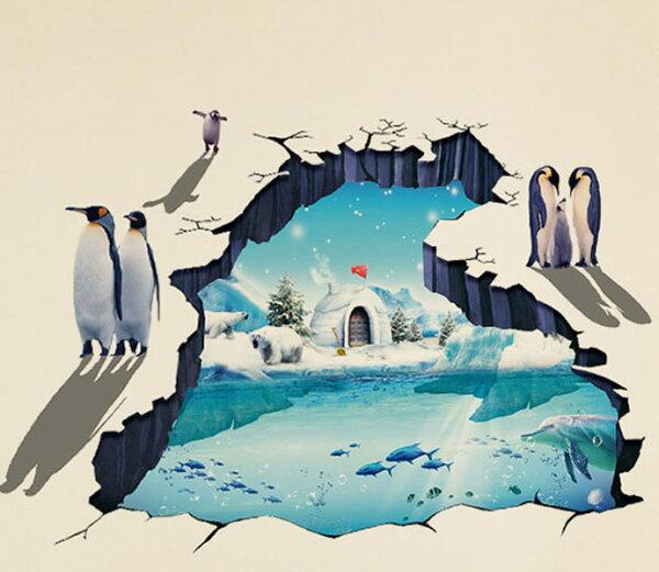 BO雜貨【YV2895-1】創意可重覆貼壁貼地板貼時尚組合壁貼超大3D立體冰川企鵝牆XL8303