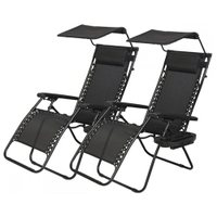 Set of 2 Zero Gravity Patio Chairs with Canopy and Cup Holders - Black