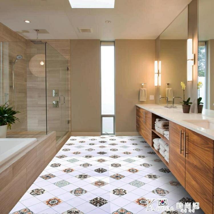 防滑地貼衛生間廚房防水摩洛哥復古自粘地板耐磨瓷磚美式浴室貼紙