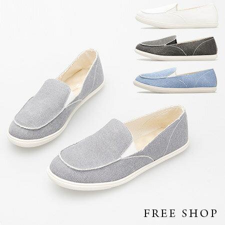 Free Shop~QSH0340~日韓風格復古水洗鞋邊抽鬚 休閒鞋懶人鞋‧四色^(FA5