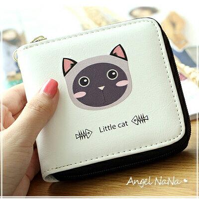 短夾-可愛兔子貓咪彩繪立體印花女皮夾-附手腕帶AngelNaNa【MA0238】