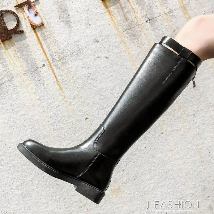 夯貨折扣! 騎士靴女2019新款冬季不膝上靴平底粗跟長筒高筒靴皮靴馬靴靴子