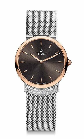 TITONI瑞士梅花錶優雅伊人系列TQ42912SRG-592簡約金屬時尚腕錶/玫瑰金+黑32mm