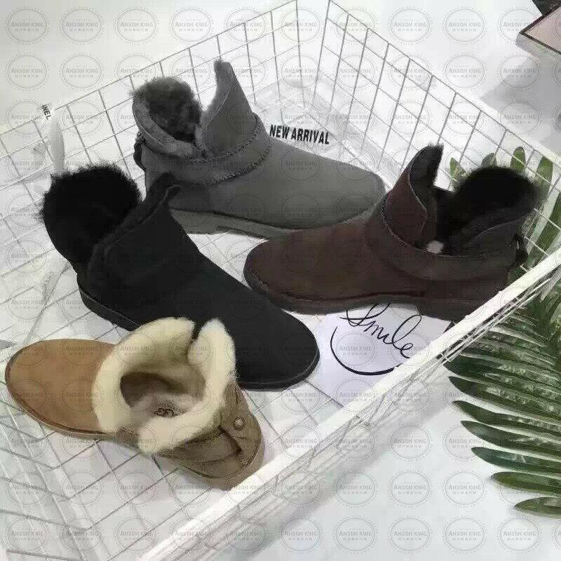 OUTLET正品代購 澳洲 UGG 羊皮毛一體馬汀靴 中長靴 保暖 真皮羊皮毛 雪靴 短靴 灰色 3