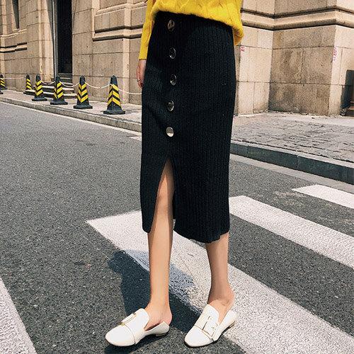長裙素色針織排釦包臀開衩鬆緊腰窄裙長裙【NDF5252】BOBI0927