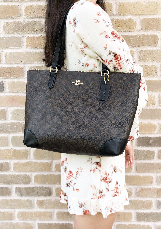 Gaby s Bags  Coach F29208 Top Zip City Tote Signature Canvas Handbag ... 263479a20dd87