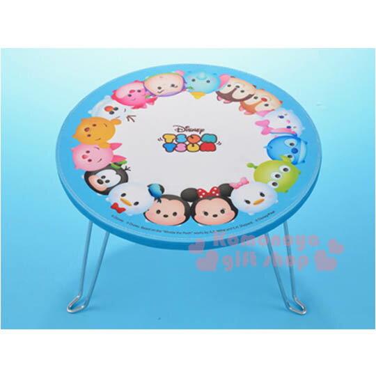 〔小禮堂〕迪士尼 Tsum Tsum 迷你摺疊桌《S.藍白.角色大臉》可摺疊收納