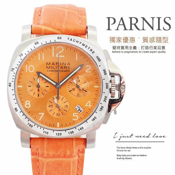 完全計時│PARNIS 瑞典軍錶風格 愛馬仕橘玫瑰金面盤 多 計時錶 多 油壓計時機芯 P