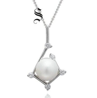 925純銀項鍊 珍珠吊墜~奢華典雅別緻鑲鑽生日情人節 女飾品73dh17~ ~~米蘭 ~