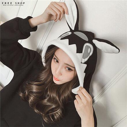 Free Shop 兔耳朵連帽T韓國寬鬆版型加厚加絨舒適保暖抓絨長袖T上衣 飛鼠袖落肩T大