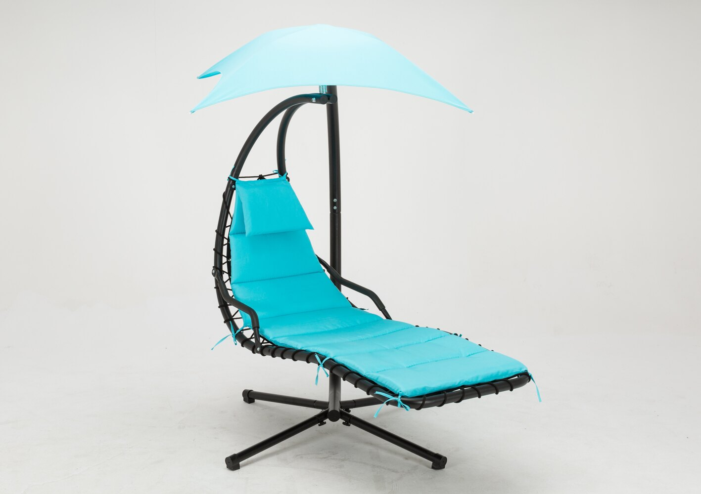 Mcombo Hanging Chaise Lounger Swing Hammock Chair with Canopy - Teal 1000 0