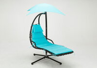 Mcombo Hanging Chaise Lounger Swing Hammock Chair with Canopy - Teal 1000
