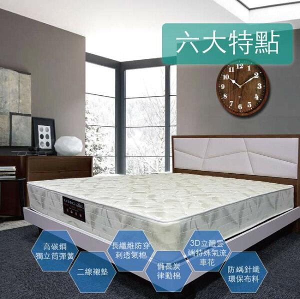 【Albert艾柏】艾柏抗菌防蹣6尺雙人加大獨立筒床墊(6x6.2尺)加送EGLO檯燈乙個