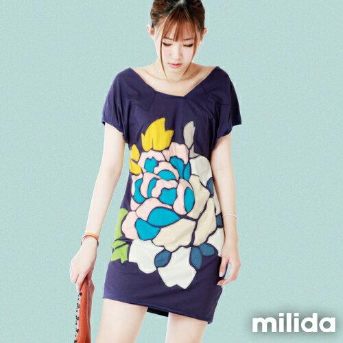 【Milida,全店七折免運】-夏季商品-拼貼款-氣質花卉洋裝 0