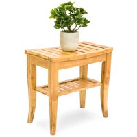 Best Choice Products Bamboo Bathroom Shower Seat Bench Stool w/ Storage Shelf