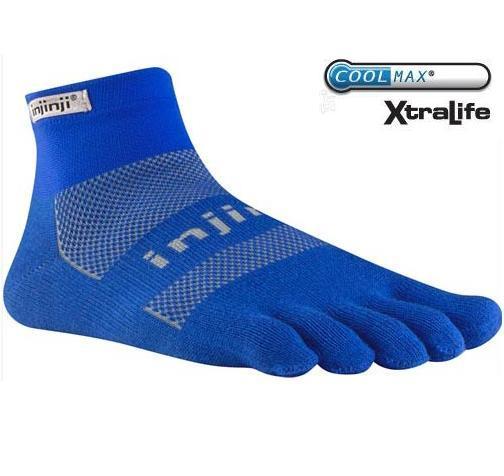 [ Injinji ] RUN 避震吸排五指短襪/五指襪/跑步襪/吸濕排汗 Coolmax 吸震加厚版 海軍藍2