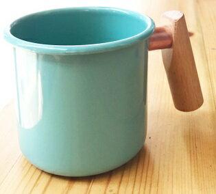 [ Truvii ] 木柄琺瑯杯/木頭琺瑯杯/琺瑯咖啡杯/日系雜貨風馬克杯 400ml湖水藍