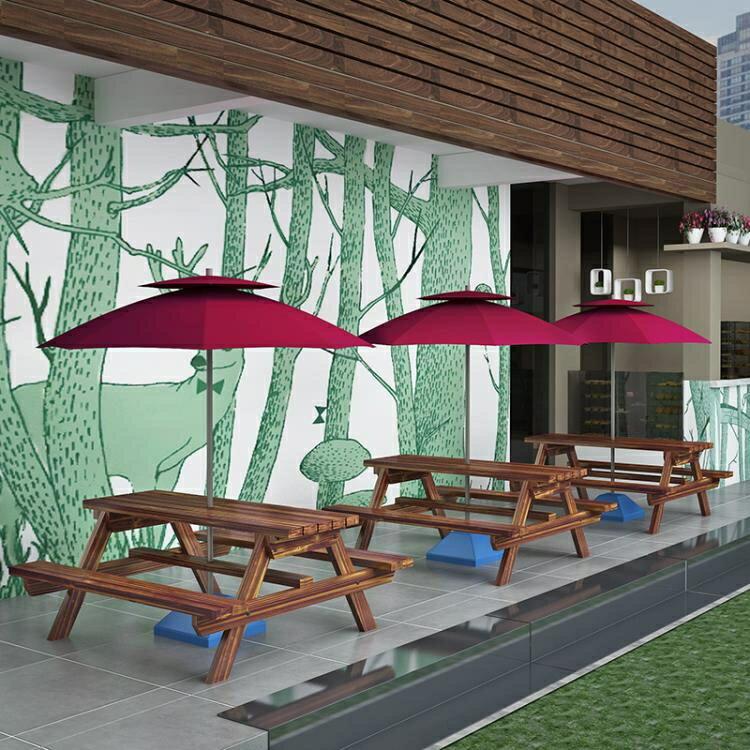 戶外桌椅 露天戶外桌椅防腐實木帶傘室外庭院休閒餐桌椅組合公園咖啡奶茶店【快速出貨】