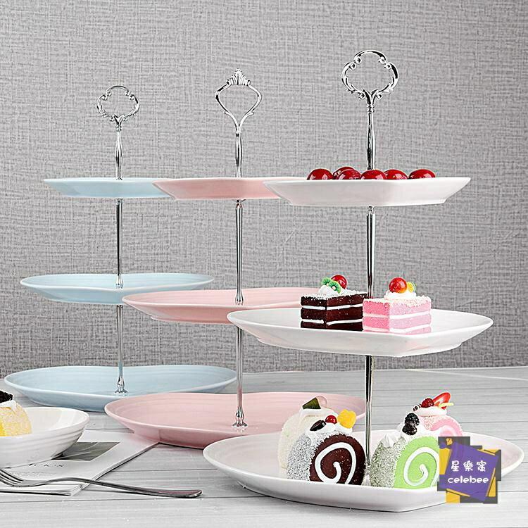 蛋糕架 瓷江湖歐式陶瓷三層水果盤甜品臺多層蛋糕架干果盤茶點心生日托盤 6色 交換禮物