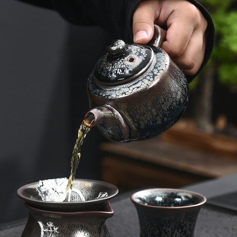 陶福氣 建陽鐵胎油滴建盞茶壺 家用鑲銀建盞茶具泡茶壺油滴盞茶壺