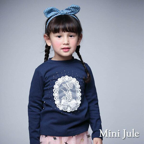 Azio Kids美國派:《MiniJule童裝》上衣女孩背影水鑽長袖棉T(寶藍)