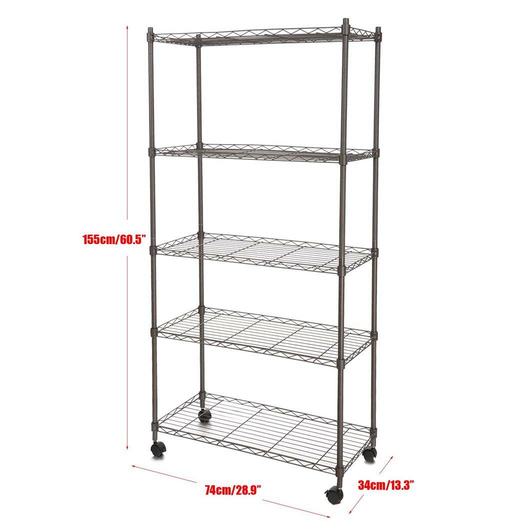 "5-Shelf Wire Shelving Rack Shelves with Wheels 14 x 29 x 61"" 3"