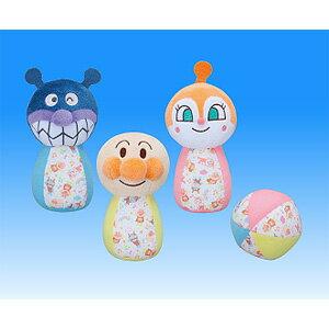 日本直送 Anpanman 麵包超人 兒童玩具 保齡球造型嬰兒瑤鈴玩具3件組 搖晃玩具會有聲音/麵包超人 細菌人款式 絨毛娃娃