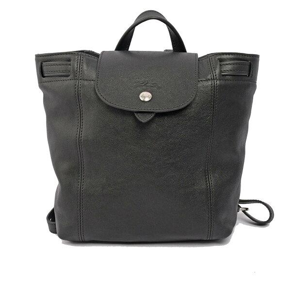 【LONGCHAMP】LEPLIAGECUIR小羊皮後背包(XS)(黑色)1306737001