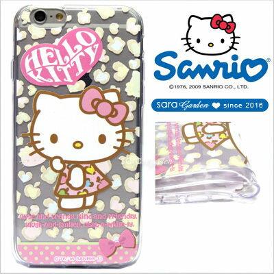 官方授權 三麗鷗 Sanrio Hello Kitty 浮雕 彩繪 iPhone 6 6S Plus Note5 Z5 Z5P A5 A7 A9 手機殼 軟殼 粉嫩豹紋【D0220190】