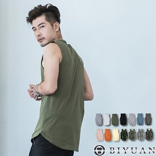 下擺圓弧背心【SP2111】OBIYUAN韓系多色素面無袖上衣共14色