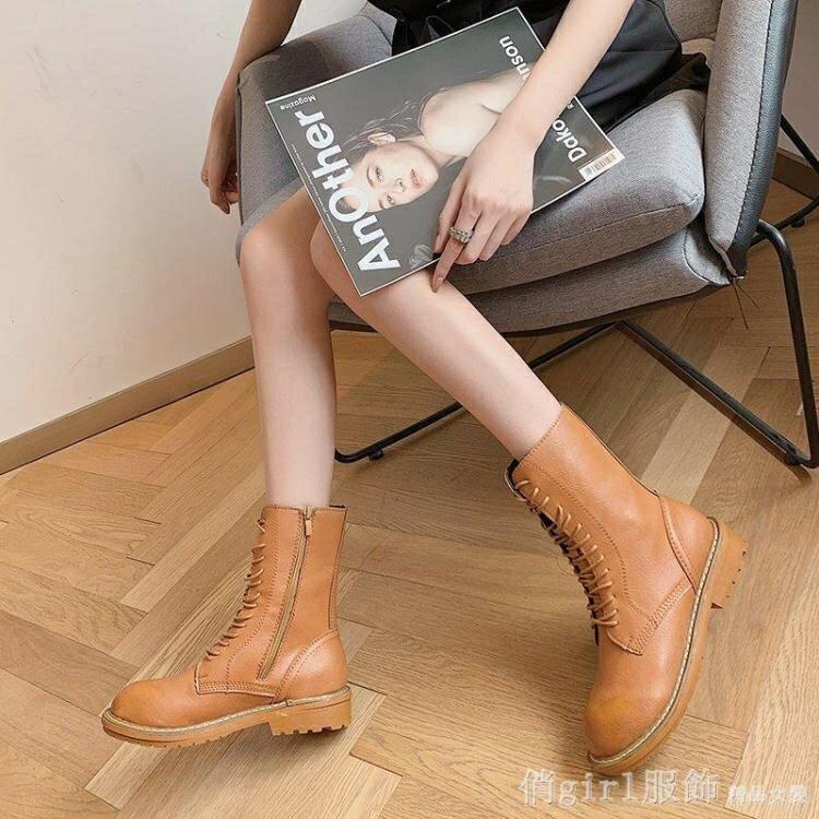 中筒靴 歐洲站厚底馬丁靴女2020秋冬新款繫帶短靴女中筒騎士靴瘦腿靴棕色 年終大酬賓