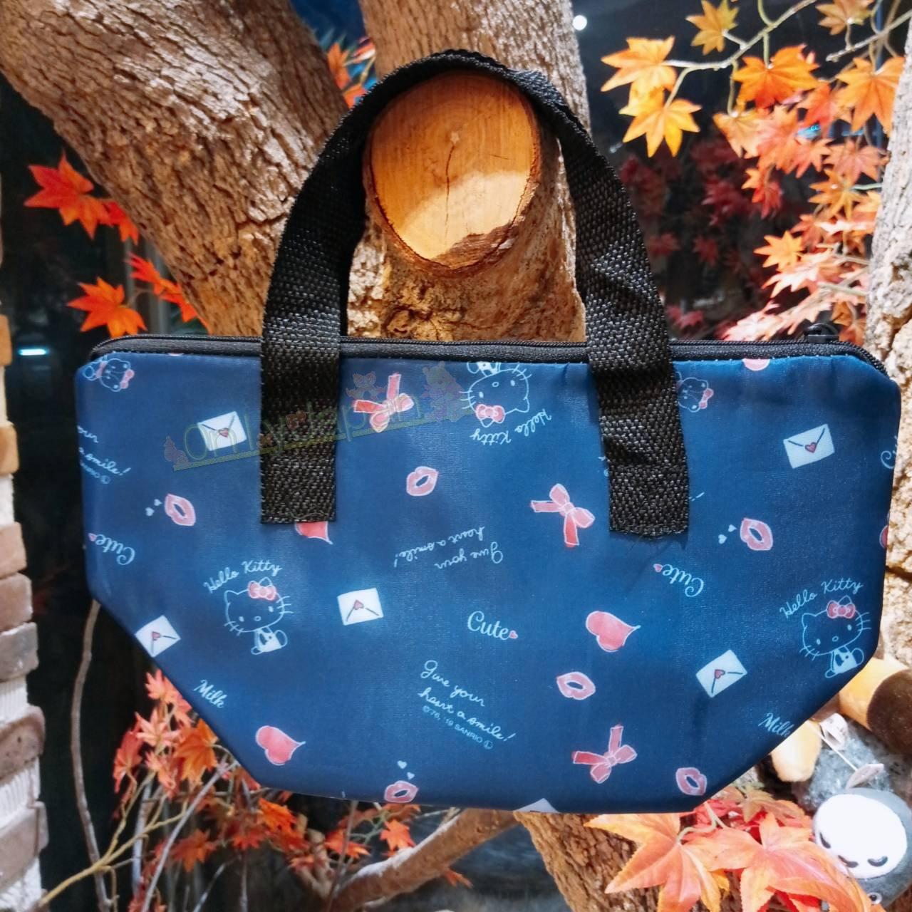 【真愛日本】凱蒂貓kitty 保溫袋 手提袋 保冷袋 保冷提袋 餐袋 便當袋 4573135582865 保冷保溫便當袋-KT情書藍