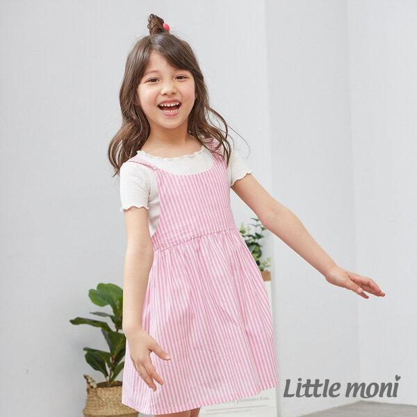 Littlemoni夏日女孩平織洋裝-粉紅