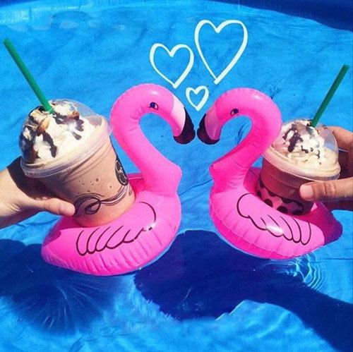 PS Mall 海邊度假玩水 火烈鳥充氣飲料水上杯墊 泳圈 ~J313~ ~  好康折扣