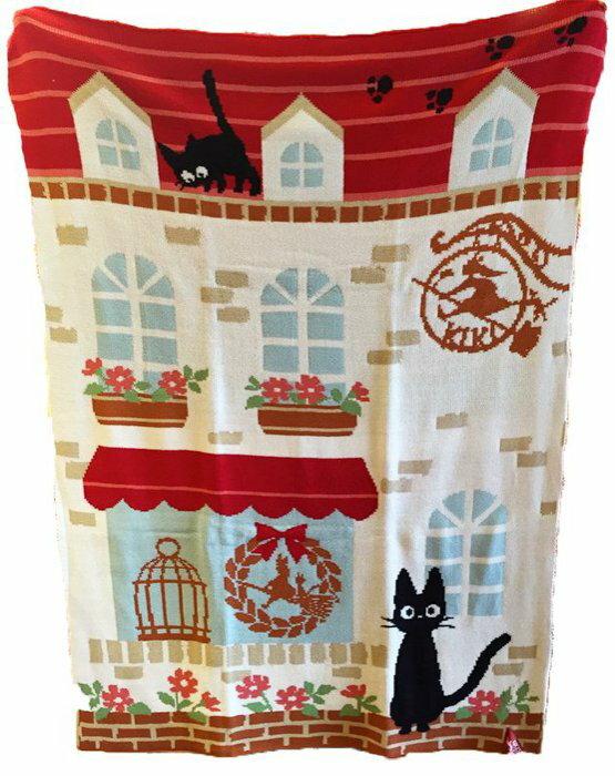 【真愛日本】15042300038  針織披毯70*100cm-花園jiji  魔女宅急便 黑貓 奇奇貓 毯子 被子