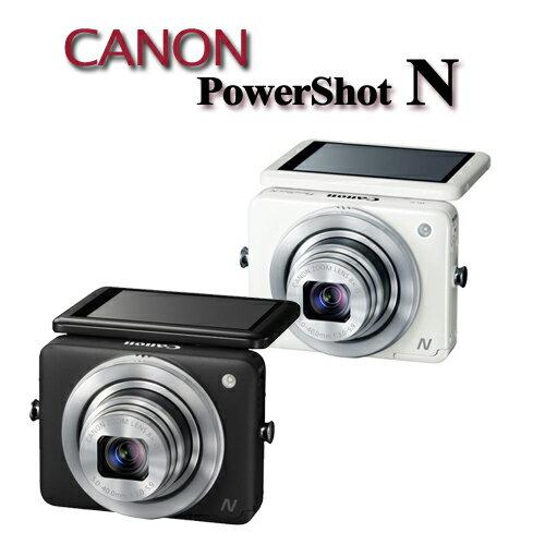 Canon PowerShot N 【公司貨】★ 內建WiFi多角度掀背螢幕輕巧機 加送16G記憶卡+專用鋰電池X2+原廠相機袋+五合一清潔組+保護貼