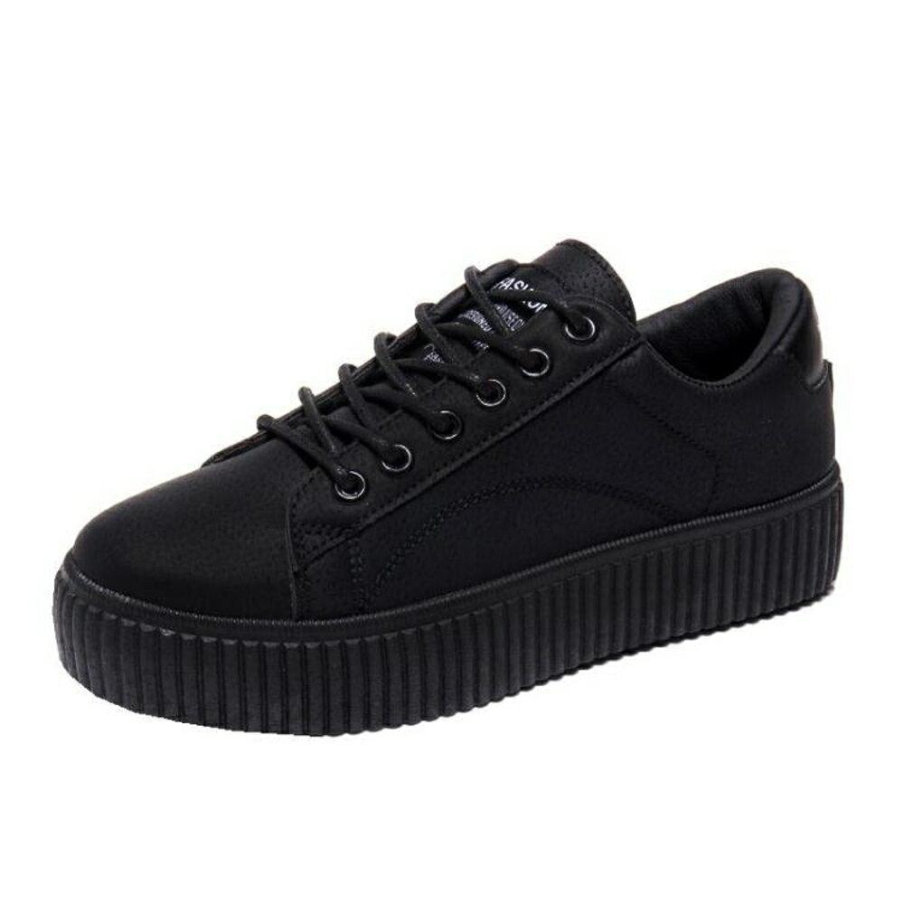 街拍小黑鞋新款百搭黑色帆布鞋女學生韓版原宿ulzzang板鞋子