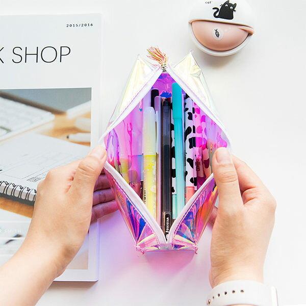 絢彩鐳射透明筆袋雷射鉛筆盒隨機出貨不挑色【庫奇小舖】