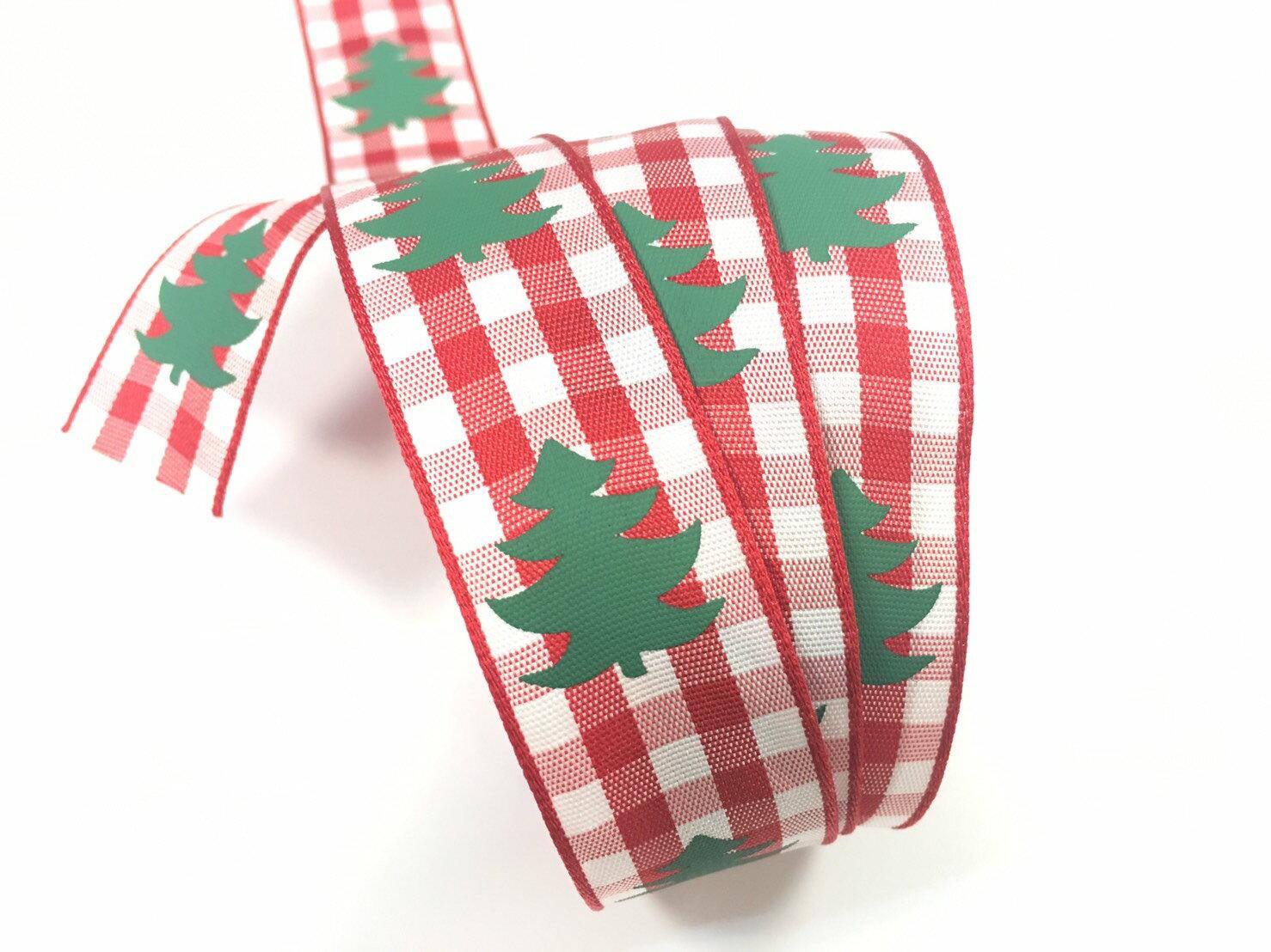 聖誕樹 格紋緞帶 2款 (2色) 0