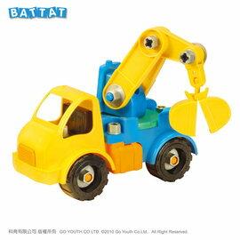 【淘氣寶寶】【美國B.Toys感統玩具】工程吊車Battat系列