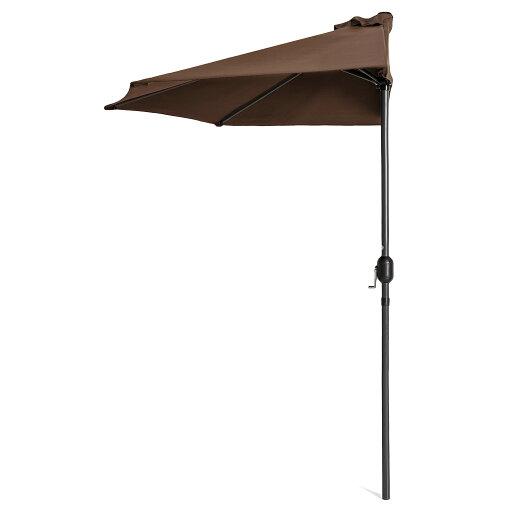 Best Choice Products 9ft Steel Half Patio Umbrella w/ Crank - Brown