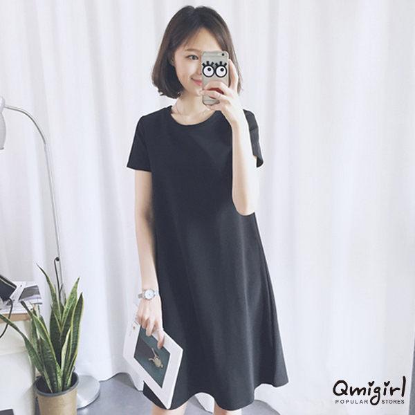 PS Mall 修身短袖高腰顯瘦洋裝~T032~