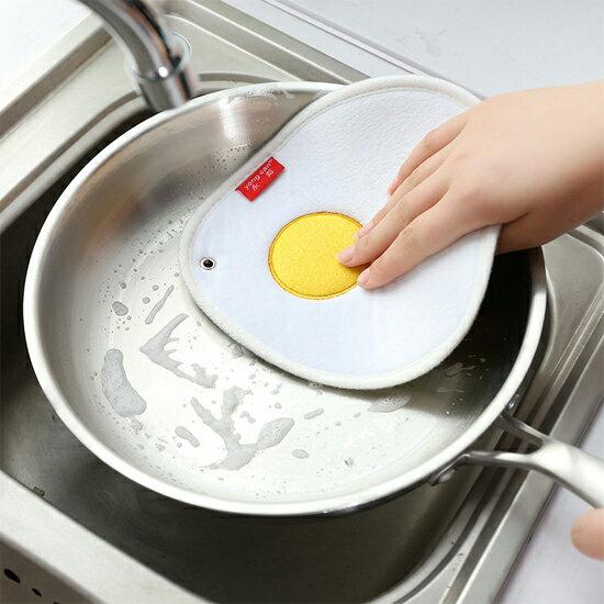 ?MY COLOR? 荷包蛋吸水雙面抹布 廚房 去汙 鍋具 清洗 懸掛 加厚 不掉毛 不沾油【X58】