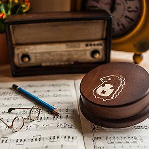 木製 發條式 選轉音樂盒 客製化 禮物-可愛刺蝟