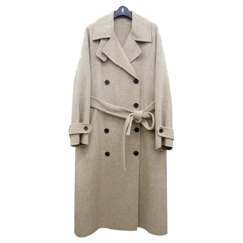 毛呢大衣羊毛外套-雙排扣繫帶寬鬆長版女外套73wb35【獨家進口】【米蘭精品】 0