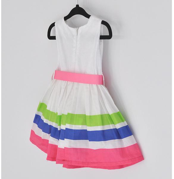 Girls Kids One Piece Dress Stripe Rainbow Color 2
